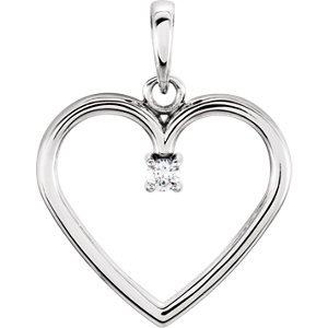14K White .03 CTW Diamond Heart Pendant