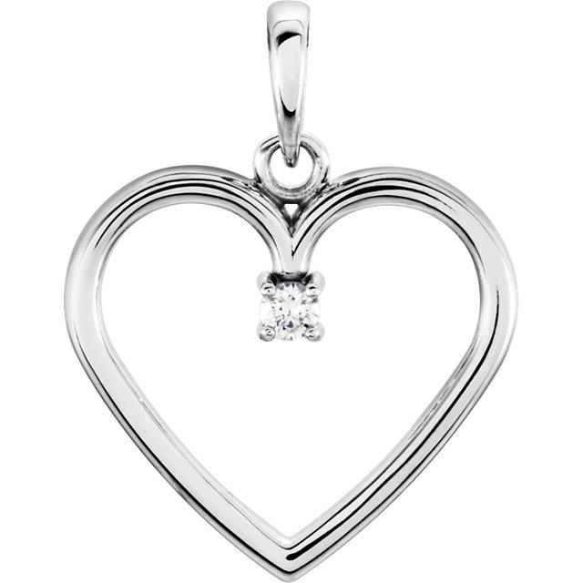 14K White .03 CTW Diamond Heart Pendant
