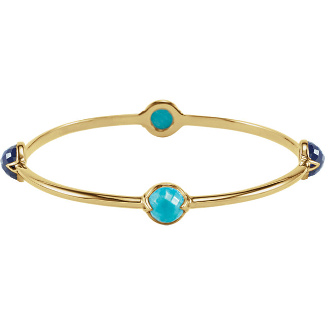 18K Vermeil Turquoise & Kyanite Bangle 7.5