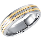 5.5 mm Stainless Steel Domed Band with 18K Yellow Inlay