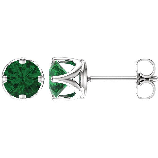 14K White Chatham® Created Emerald Earrings