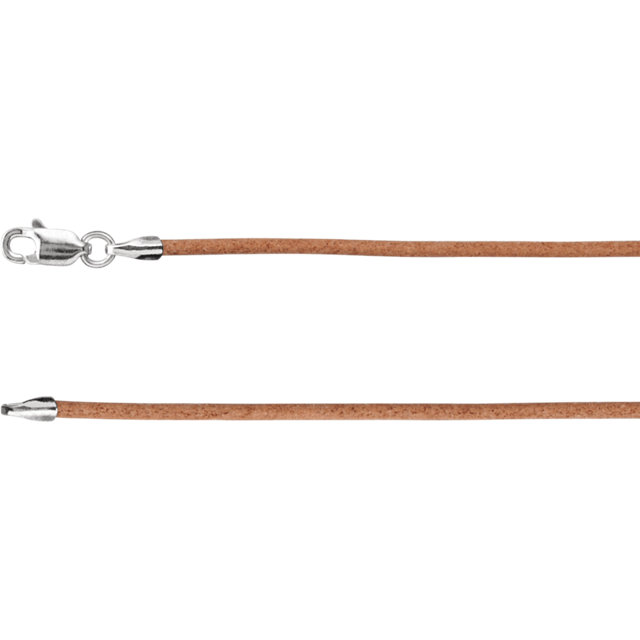 Sterling Silver 1.5mm Natural Leather 7