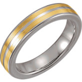Tungsten 4.3 mm Domed Band with 14K Yellow Inlay