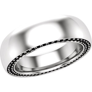 14K White 6 mm Round 3/4 CTW  Black Diamond Band