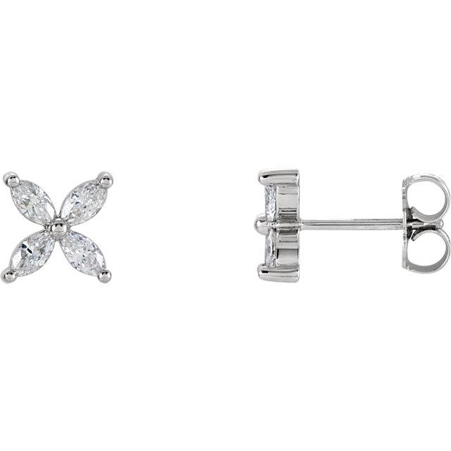 14K White 5/8 CTW Diamond Cluster Earrings
