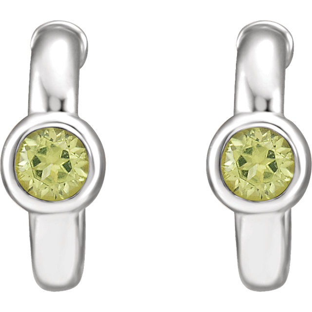 14K White Peridot J-Hoop Earrings