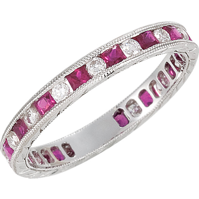 14K White Ruby & 1/4 CTW Diamond Eternity Band Size 7