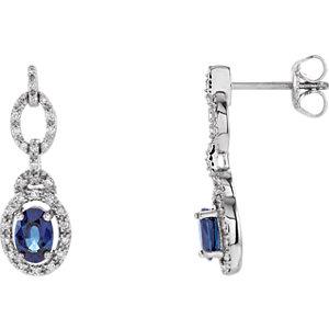b599fa577 14K White Blue Sapphire & 1/4 CTW Diamond Earrings | Stuller