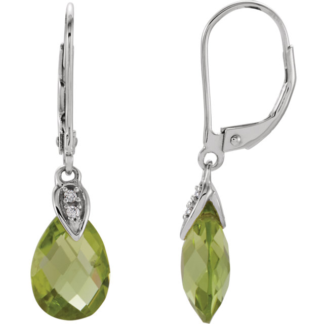 14K White Peridot & .025 CTW Diamond Earrings