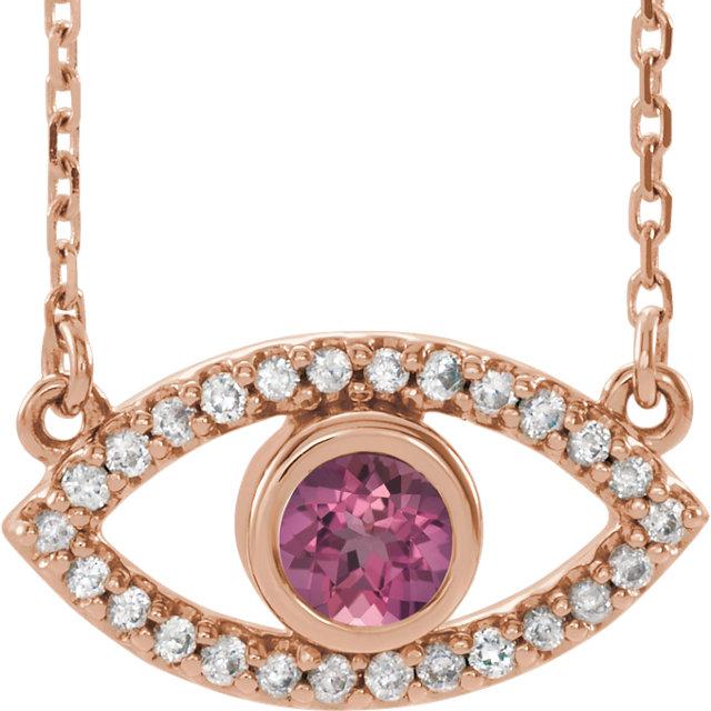 14K Rose Pink Tourmaline & White Sapphire Evil Eye 16