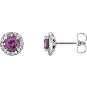 Earrings , 14K White 5mm Round Amethyst & 1/6 CTW Diamond Earrings