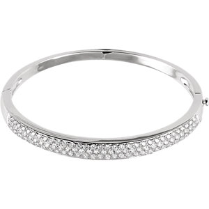 14K White 3 CTW Diamond Pave- Bracelet