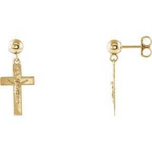 14K Yellow 20x9mm Crucifix Ball Dangle Earrings