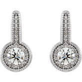 Accented Milgrain Halo-Style Dangle Earrings