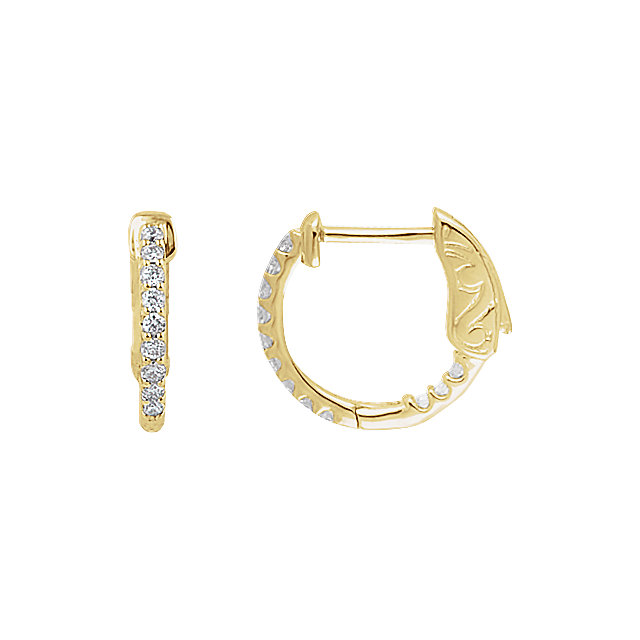 14K Yellow 1/4 CTW Diamond Inside/Outside Hoop Earrings