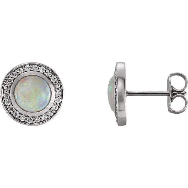 14K White 5 mm Opal & 1/6 CTW Diamond Halo-Style Earrings