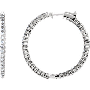 14K White 2 CTW Diamond Inside/Outside Hoop Earrings