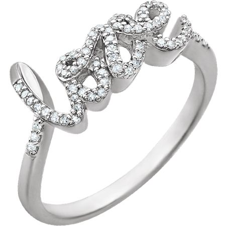 14K White 1/6 CTW Love Diamond Ring