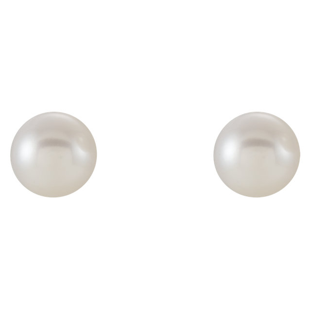 14K White 6-6.5 mm Freshwater Cultured Pearl Earrings