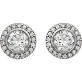 Cubic Zirconia Halo-Style Earrings