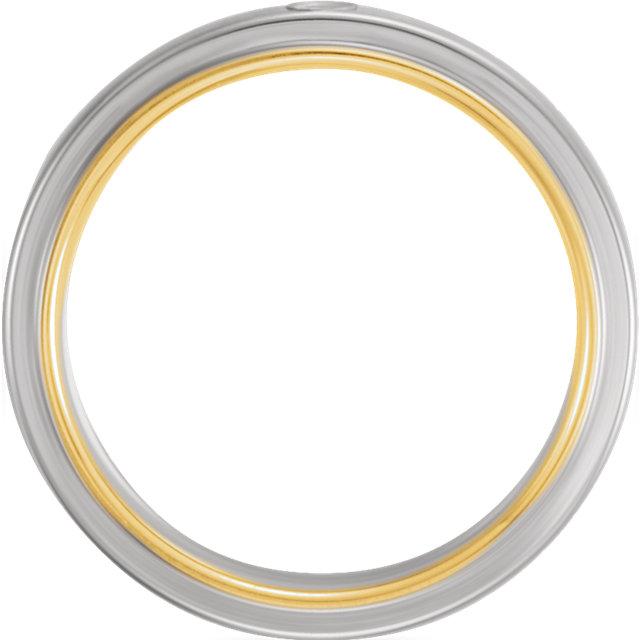 14K White & Yellow .025 CTW Diamond 6mm Band Size 7