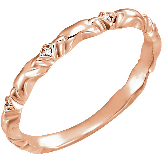 14K Rose .02 CTW Diamond Anniversary Band