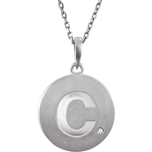 Sterling Silver .005 CTW Diamond Letter