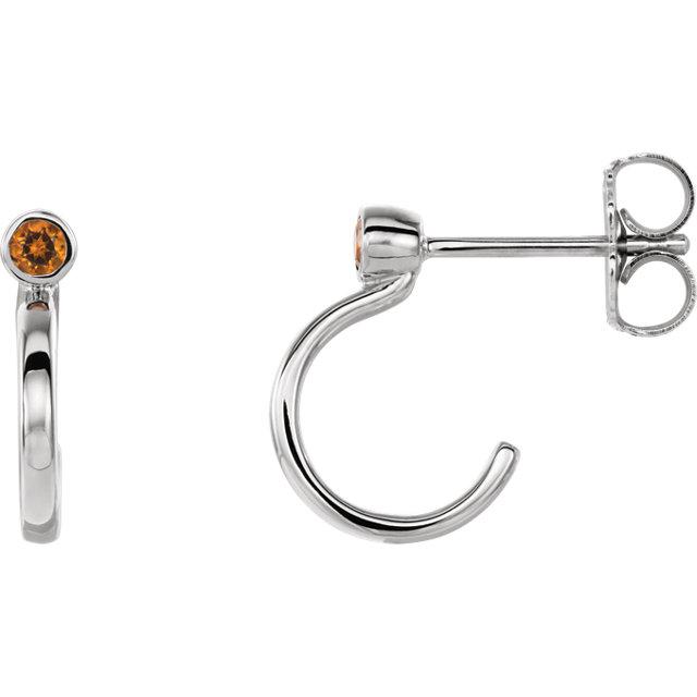 14K White 2 mm Round Citrine Bezel-Set J-Hoop Earrings