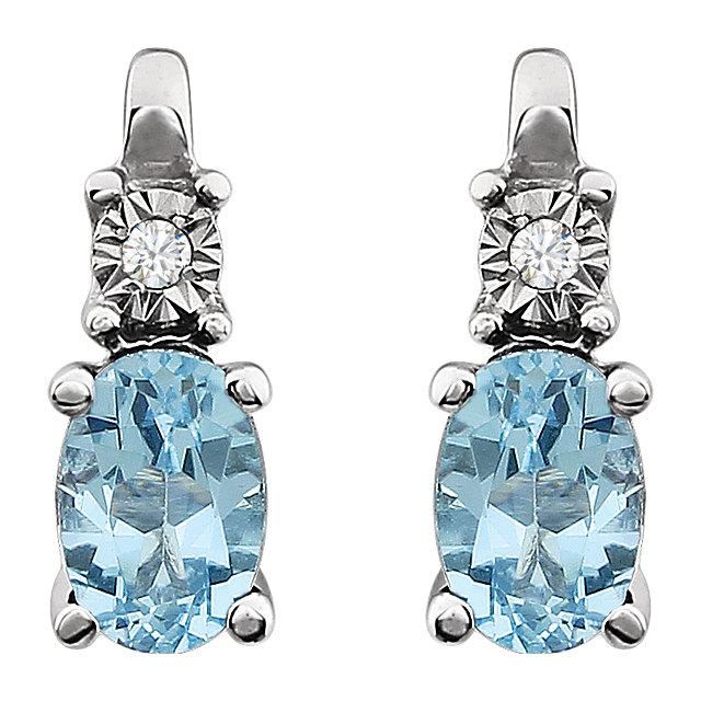14K White Sky Blue Topaz & .02 CTW Diamond Accented Earrings
