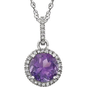 1/10 Carat TW Diamond & Birthstone Necklace