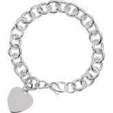 9.75mm Sterling Silver Cable Bracelet with Heart