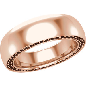 14K Rose 6 mm Round 3/4 CTW  Black Diamond Band