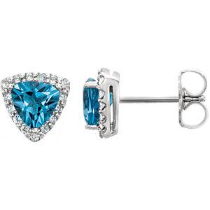 Earrings , 14K White Swiss Blue Topaz & .08 CTW Diamond Earrings
