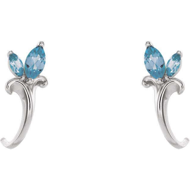 14K White Aquamarine Floral-Inspired J-Hoop Earrings