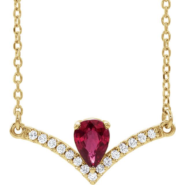 14K Yellow Chatham® Lab-Created Ruby & .08 CTW Diamond 16