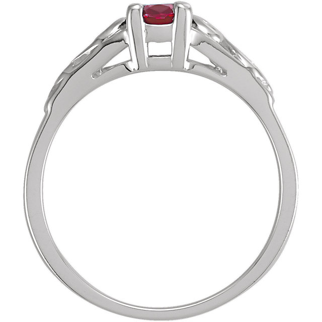 Sterling Silver January Youth Imitation Birthstone Ring