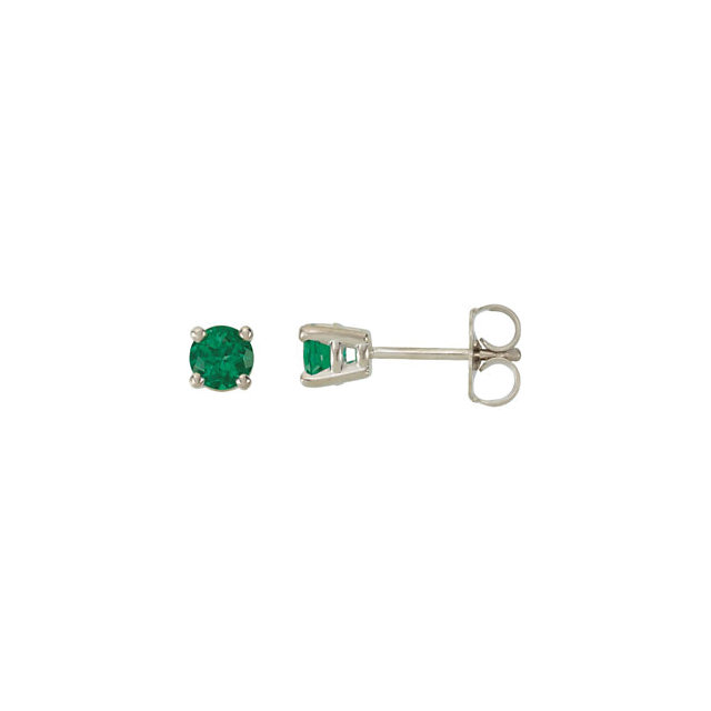 953b8dc12 14K White 4mm Round Chatham® Created Emerald Friction Post Stud Earrings -  68619-124-P