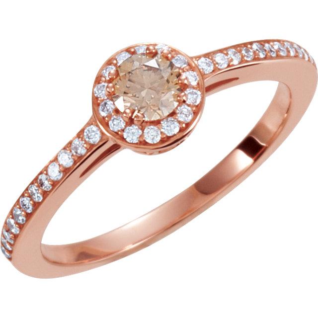 14K Rose 3/8 CTW Diamond Engagement Ring