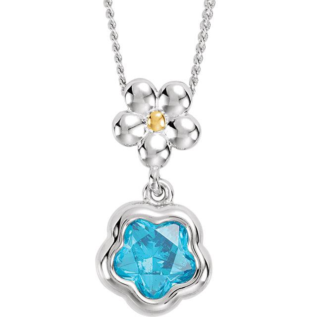 Sterling Silver BLUE Cubic Zirconia BFlower™ 15-17