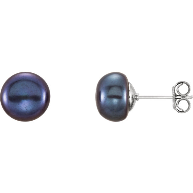 Sterling Silver 8-9mm Black Freshwater Cultured Pearl Earrings