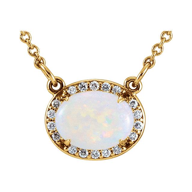 14K Yellow Opal & .05 CTW Diamond Halo-Style 16.5