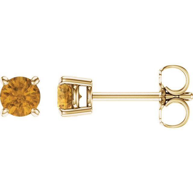 14K Yellow 4 mm Round Citrine Earrings