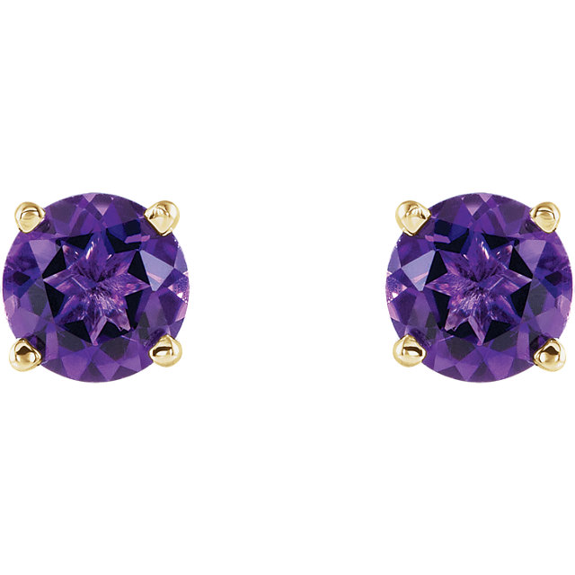 14K Yellow 5 mm Round Amethyst Earrings