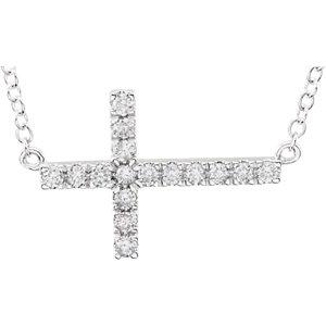 14K White 1/5 CTW Diamond Sideways Cross 18