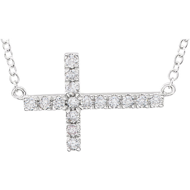 14K White 1/5 CTW Diamond Sideways Cross 18