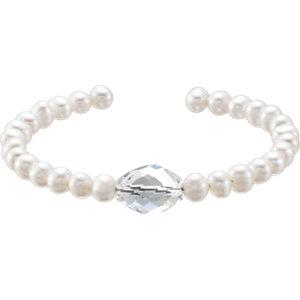 Freshwater Cultured Pearl & Crystal Bracelet