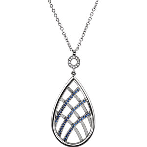 Necklace / Chain , Blue & White Sapphire Necklace or Pendant