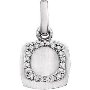 14K White .06 CTW Diamond Geometric Pendant
