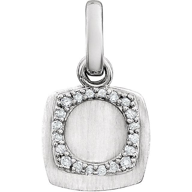 14K White .06 CTW Diamond Geometric Pendant