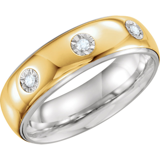 Sterling Silver & 10K Yellow 7mm 1/10 CTW Diamond Band Size 10